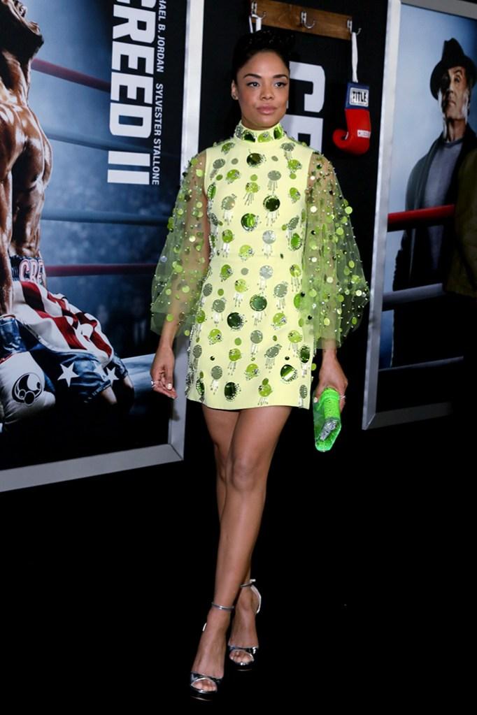 Tessa Thompson'Creed II' film premiere, Arrivals, New York, USA - 14 Nov 2018 Wearing Prada, Custom