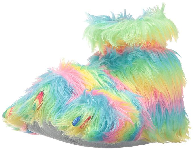 Trimfit Girls' Rainbow Plush Fuzzy Paw Slippers