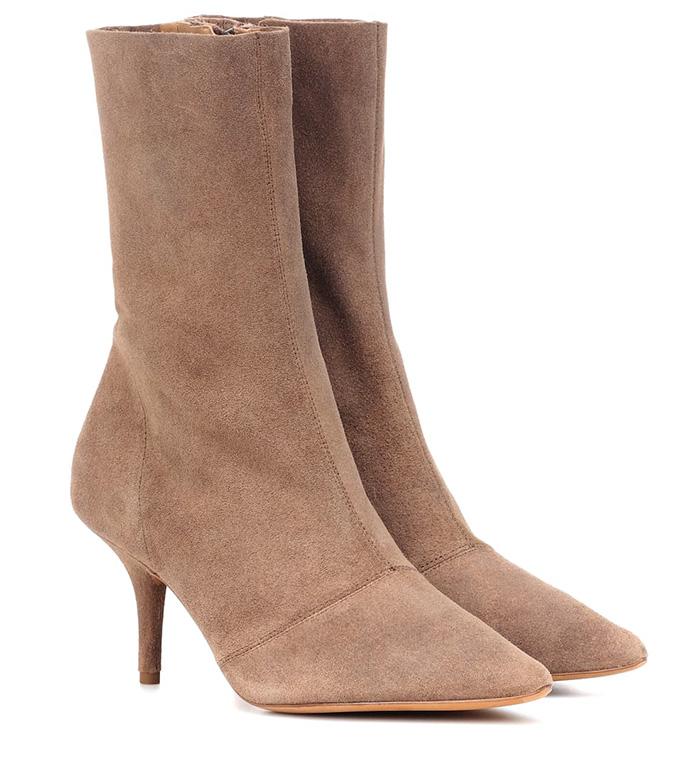 Yeezy Women's Brown Suede Ankle Boots, beige shoe, beige trend