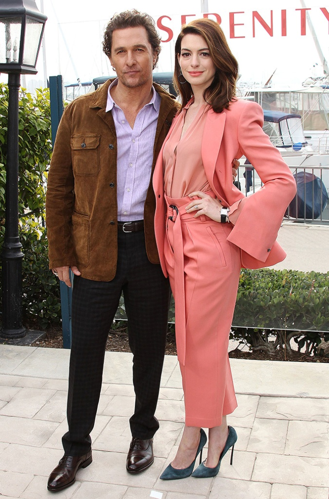 Anne Hathaway, Matthew McConaughey, celebrity style, pink pantsuit, casadei heels, 'Serenity' film photocall, Los Angeles, USA - 11 Jan 2019Serenity Photo Call