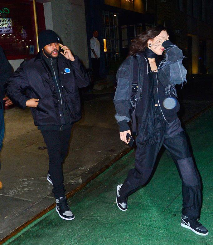 bella hadid, the weeknd, date night, celebrity couple, nike, sneakers