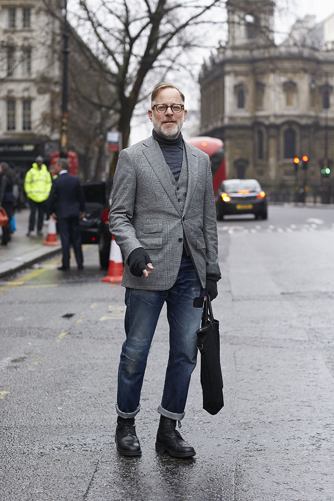 Bruce Pask, Street Style, Autumn Winter 2017, London Fashion Week Men's, UK - 07 Jan 2017