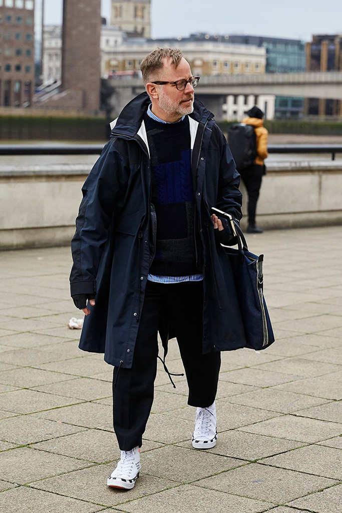 Bruce Pask,Street Style, Fall Winter 2019, London Fashion Week Men's, UK - 07 Jan 2019