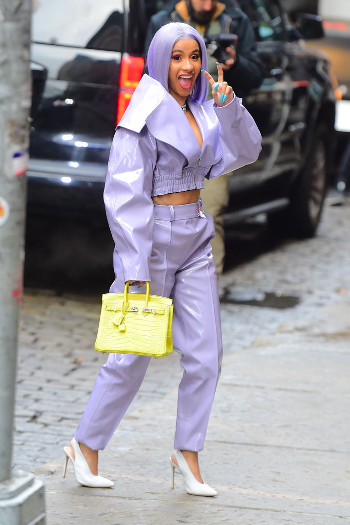 cardi b, celebrity style, street style, fashion, lavender, white pumps