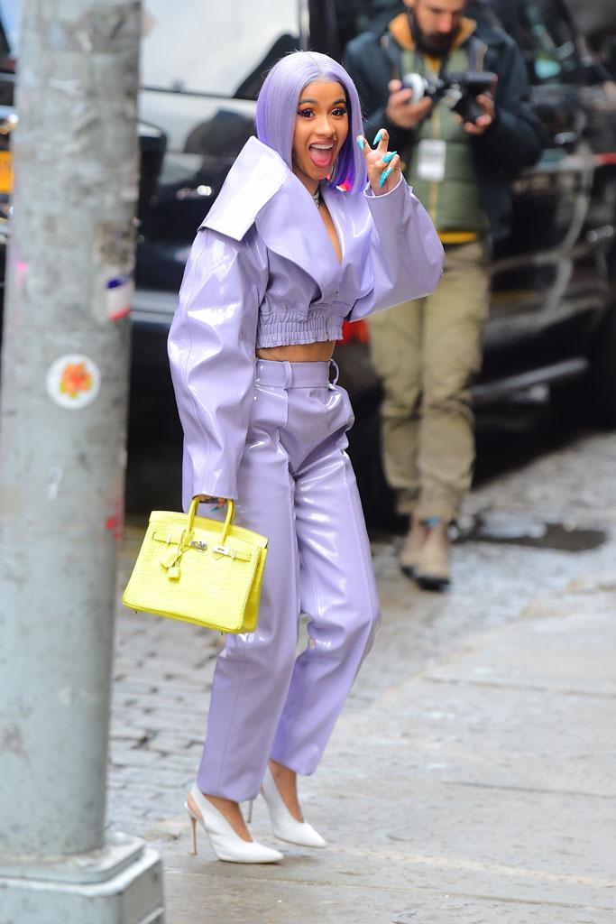 cardi b, birkin bag, purple outfit, lavender, fashion, celebrity style, purple hair, white pumps