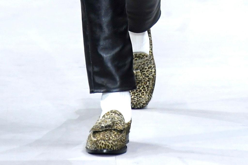 A leopard-print tasseled loafer at Celine fall '19.