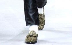 A leopard-print tasseled loafer at Celine