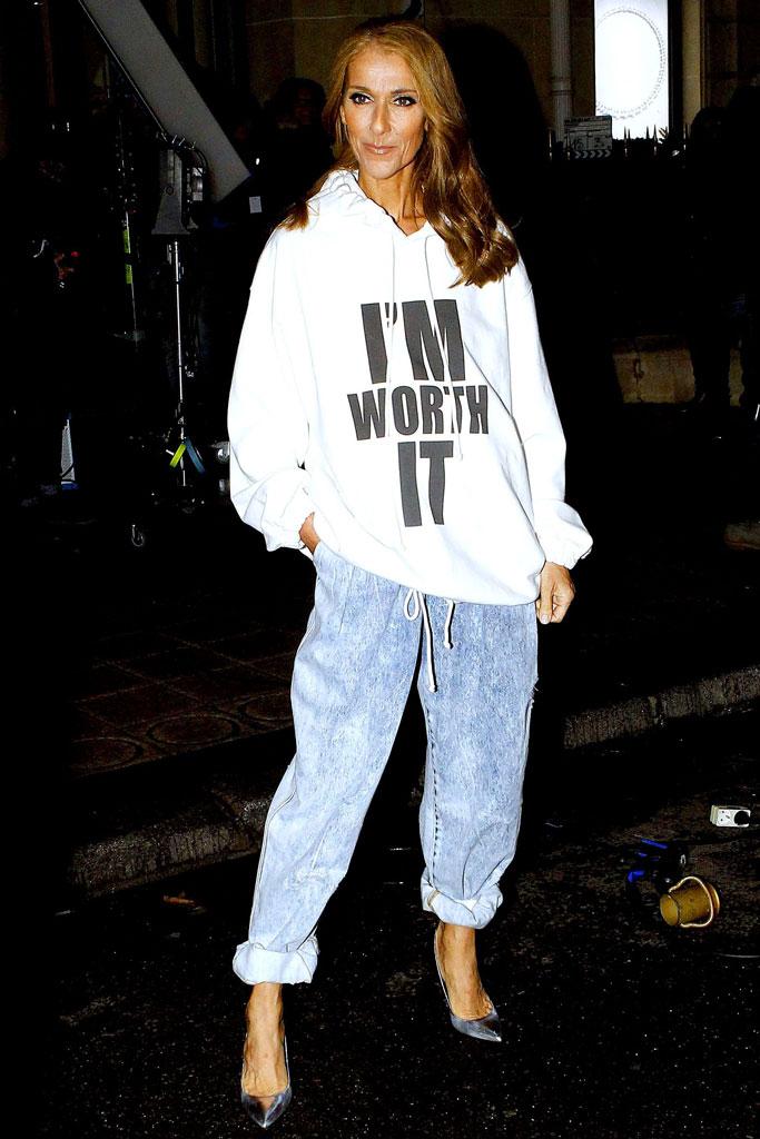 Céline Dion , celebrity style, sweatshirt, paris , loreal