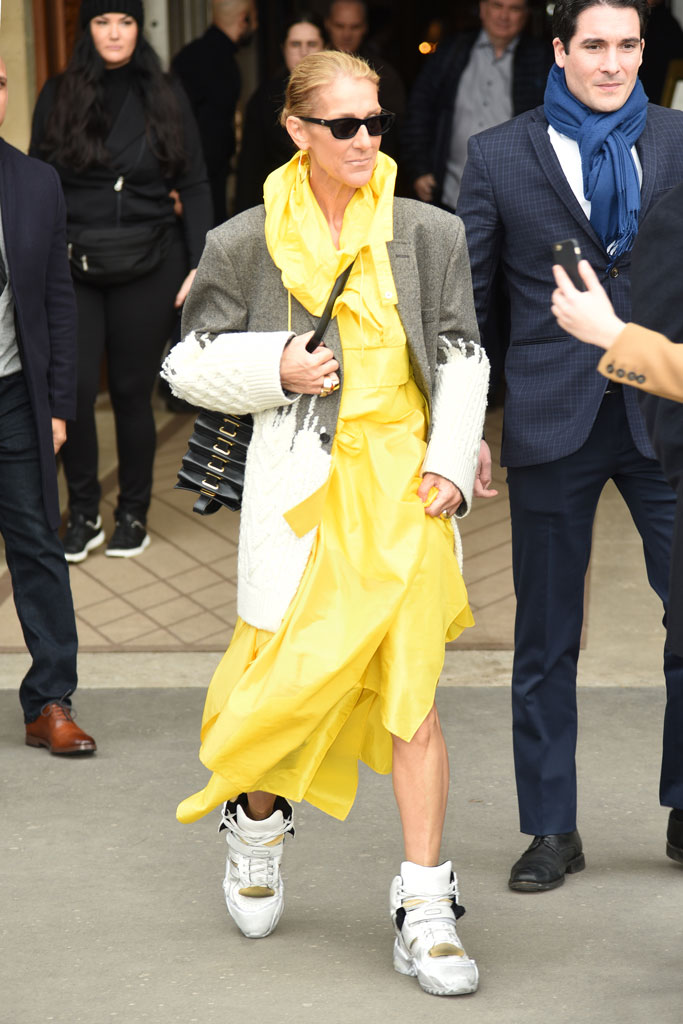Céline Dion, celebrity style, yellow, sneakers