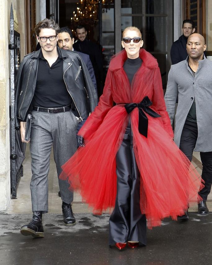 celine dion, paris, red coat