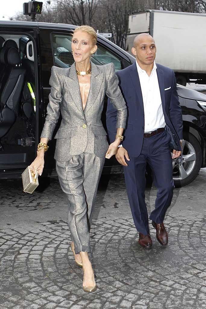 Wearing Ronald van der Kemp, celine dion, thin, weight loss, silver suit, heels