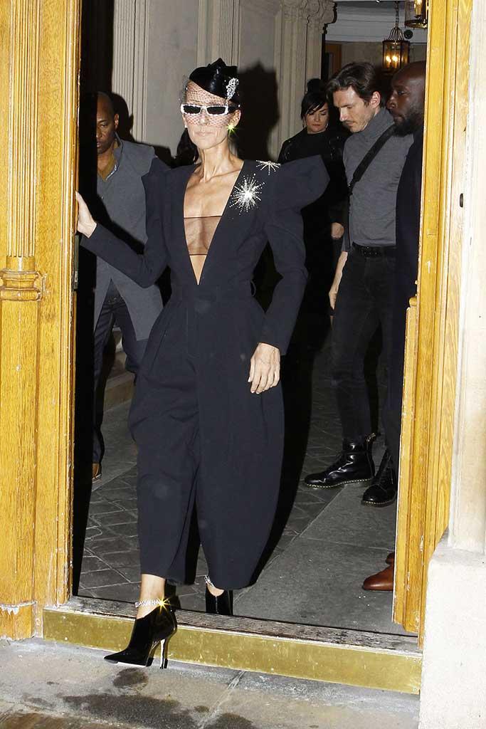 Celine Dion wearing Alexandre Vauthier for a visit to Paris's Folies Bergère cabaret club.