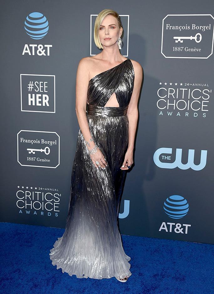 Charlize Theron arrives at the 24th annual Critics' Choice Awards, at the Barker Hangar in Santa Monica, Calif24th Annual Critics' Choice Awards - Arrivals, Santa Monica, USA - 13 Jan 2019