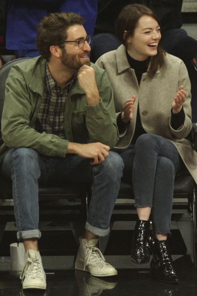 emma stone, january 2019, celebrity style, la clippers, nba