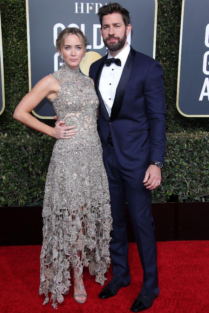 Emily Blunt and John Krasinski, golden globe awards, red carpet, celebrity style