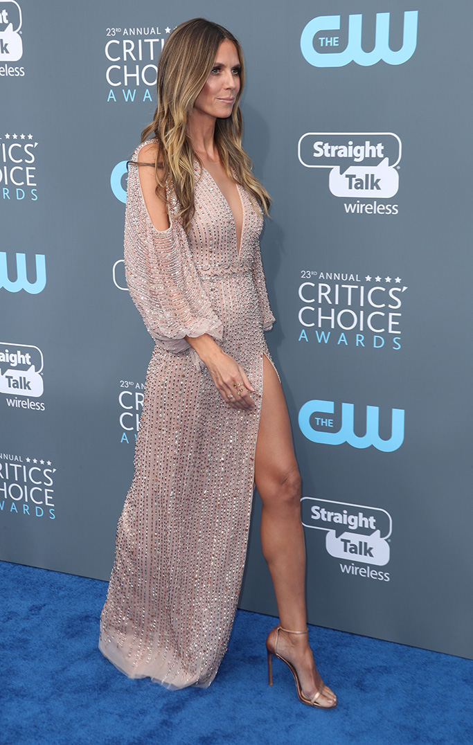 Heidi KlumCritics' Choice Awards, Arrivals, Los Angeles, USA - 11 Jan 2018WEARING GEORGES HOBEIKA SAME OUTFIT AS CATWALK MODEL *8891426cu