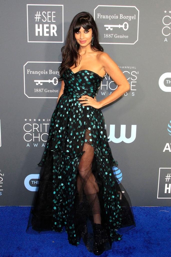 Jameela Jamil wearing Oscar de la Renta.