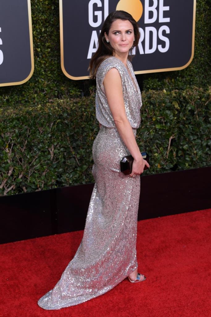 Keri Russell wearing Louboutin Queen Loubi sandals