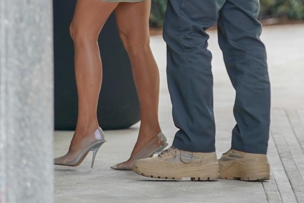 kim kardashian, kanye west, yeezy, clear heels