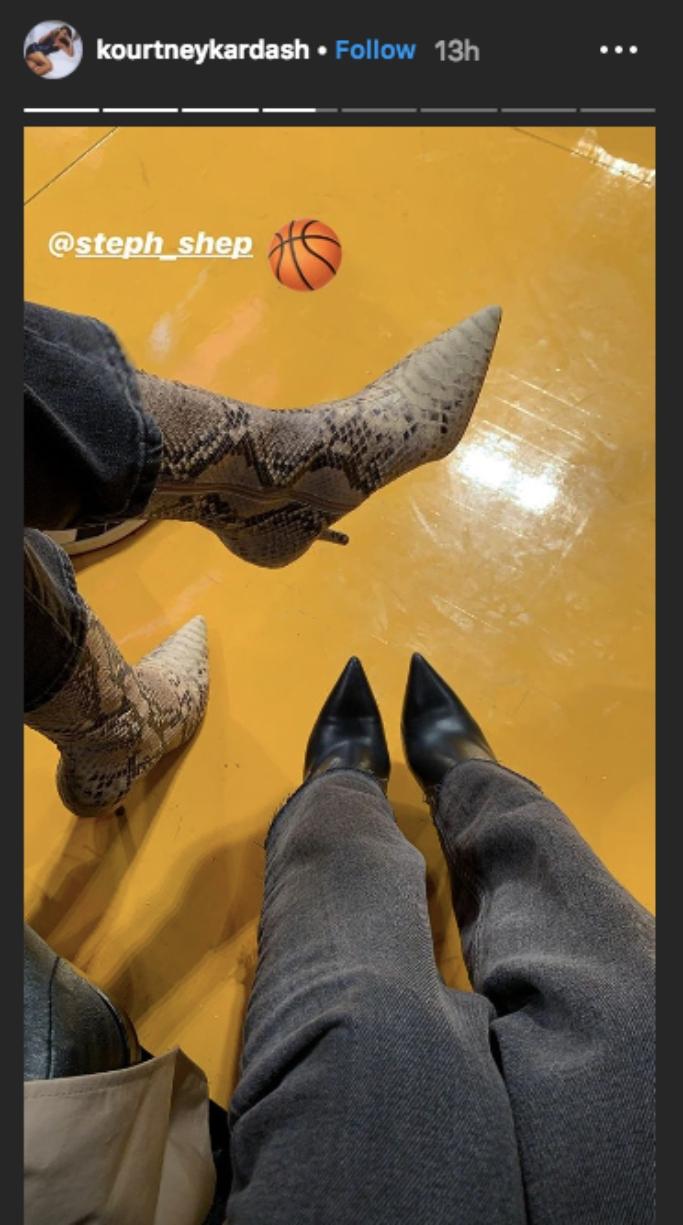 kourtney kardashian, Stephanie Shepherd, balenciaga slash heel boots, python boots, courtside, basketball game