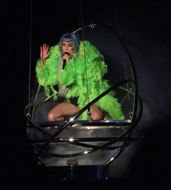 lady gaga, green coat