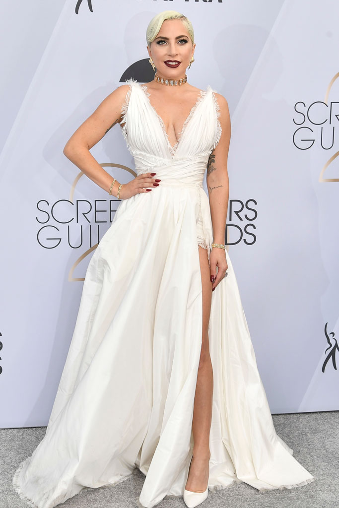 Lady Gaga , red carpet, 2019 sag awards, screen actor guild awards, white gown, pumps