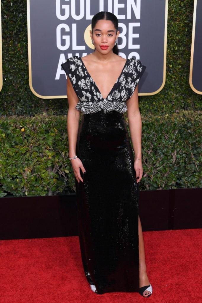 laura harrier, red carpet, golden globe awards 2019, fashion