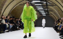 A model presents a creation by