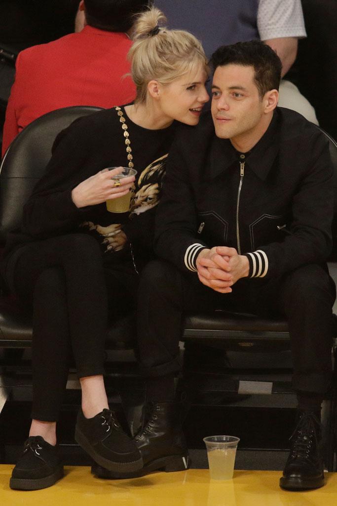 Lucy Boynton, Rami Malek, LA LAkers, staples center, celebrity couple