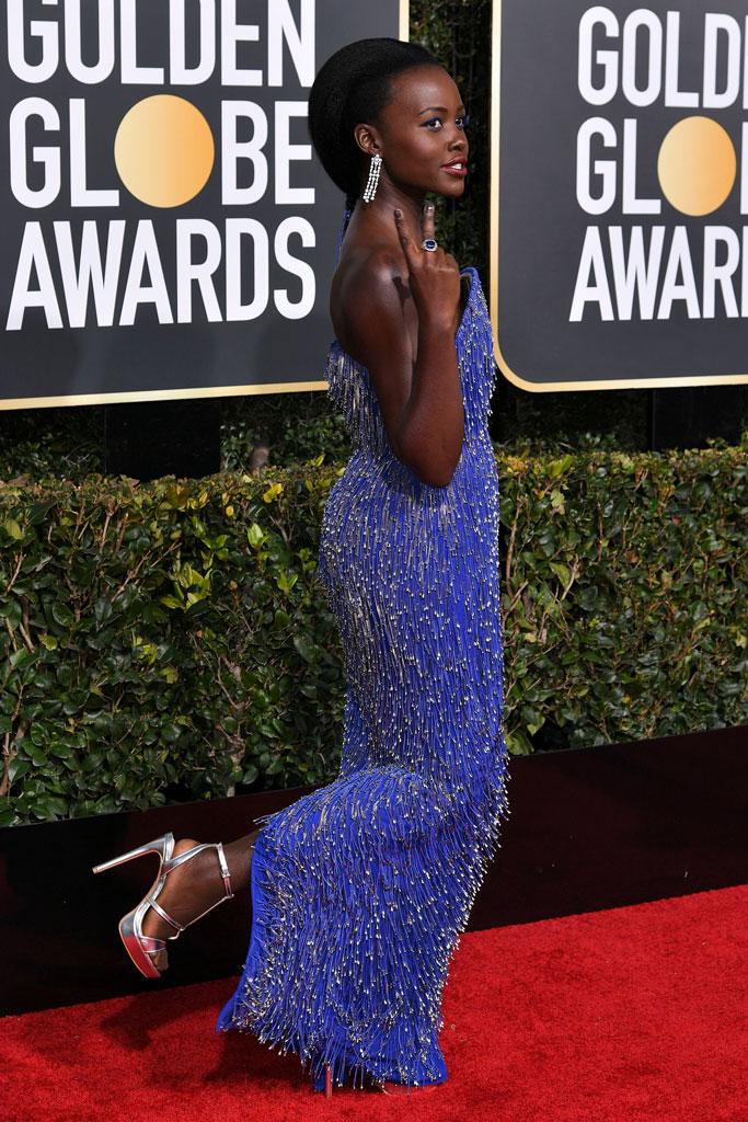 Lupita Nyong'o, golden globes, celebrity style, aldo, calvin klein, fashion