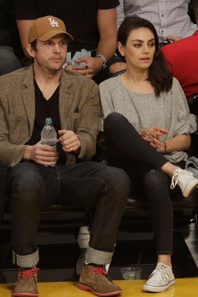 ashton kutcher, mila kunis, converse sneakers, courtside, la lakers