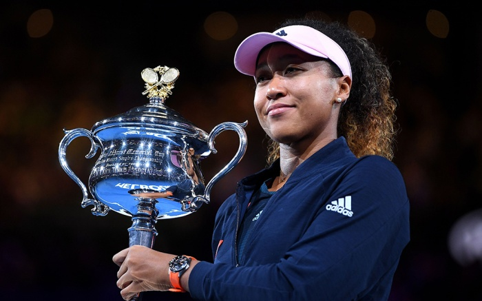 Editorial use onlyMandatory Credit: Photo by LUKAS COCH/EPA-EFE/REX/Shutterstock (10073614jf)Naomi Osaka of Japan reacts during the presentation of the winner's trophy after defeating Petra Kvitova of the Czech Republic in the women's singles final at the Australian Open Grand Slam tennis tournament in Melbourne, Australia, 26 January 2019.Tennis Australian Open 2019, Melbourne, Australia - 26 Jan 2019