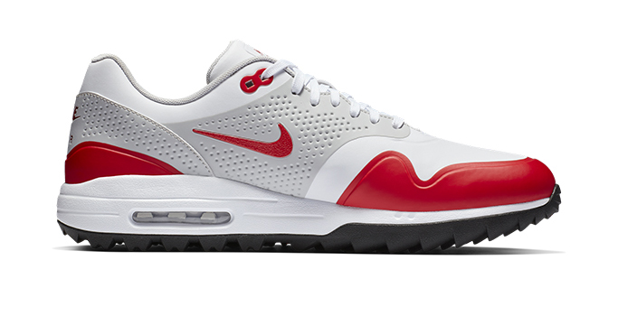 Nike Air Max 1 Golf Shoe in Red/White/Gray