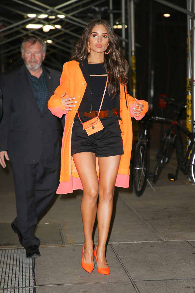 olivia culpo, nyc, express, celebrity style, orange, legs, pumps, jacket, shorts, street style, fashion