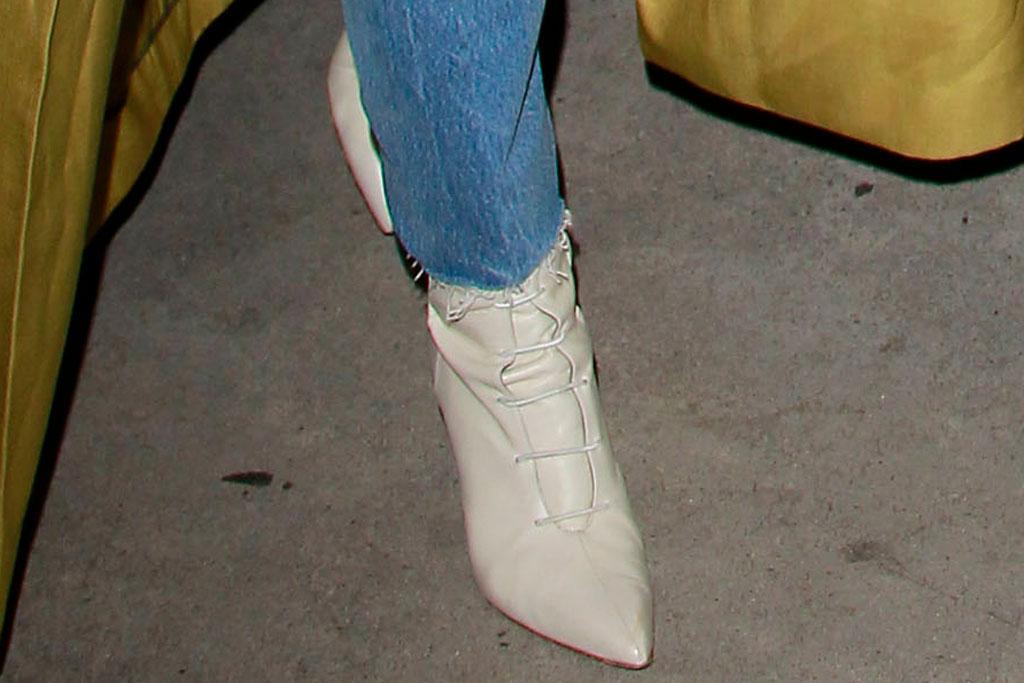 Priyanka Chopra, white lace-up boots, los angeles, celebrity style, shoe shot