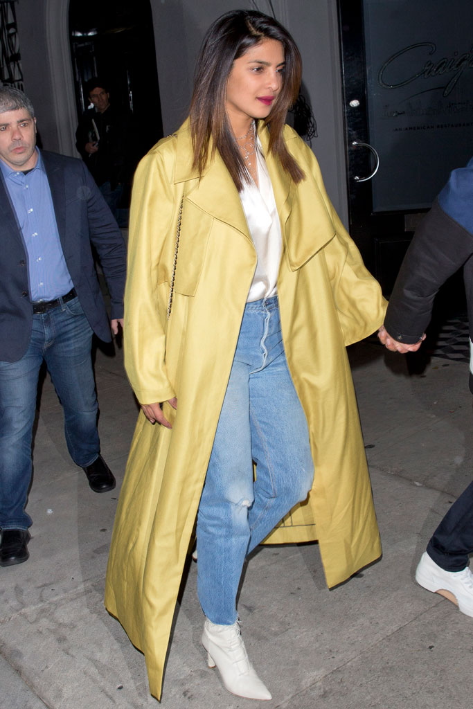 Priyanka Chopra, january 2019, celebrity style, nick jonas, white boots, trench coat