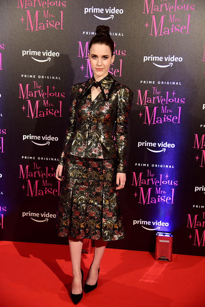 Rachel Brosnahan 'The Marvelous Mrs. Maisel' TV show premiere, Arrivals, Milan, Italy - 03 Dec 2018Wearing Erdem Same Outfit as catwalk model *9419598ac