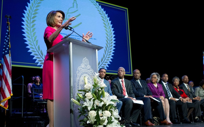 House Minority Leader Nancy Pelosi, D-Calif., speaks during Congressional Black Caucus member swearing-in ceremony of the 116th Congress at The Warner Theatre in WashingtonNew Congress, Washington, USA - 03 Jan 2019