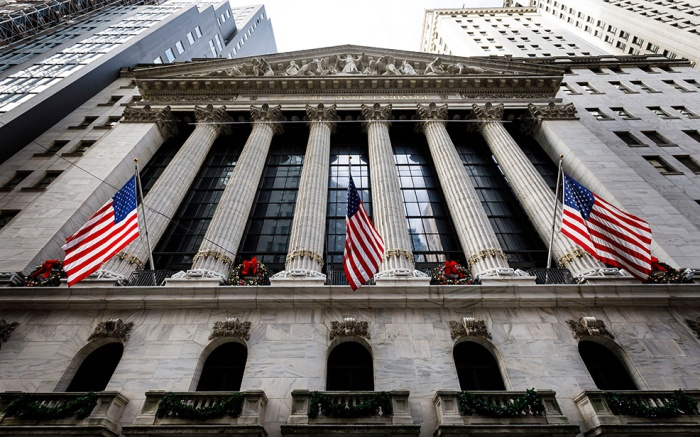 A view of the front of the New York Stock Exchange in New York, New York, USA, 03 January 2019. The Dow Jones industrial average was down today over 500 points in morning trading.New York Stock Exchange, USA - 03 Jan 2019