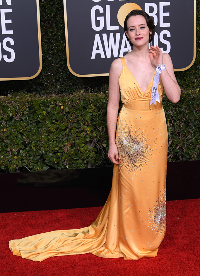 Claire Foy 76th Annual Golden Globe Awards, Arrivals, Los Angeles, USA - 06 Jan 2019Wearing Miu Miu