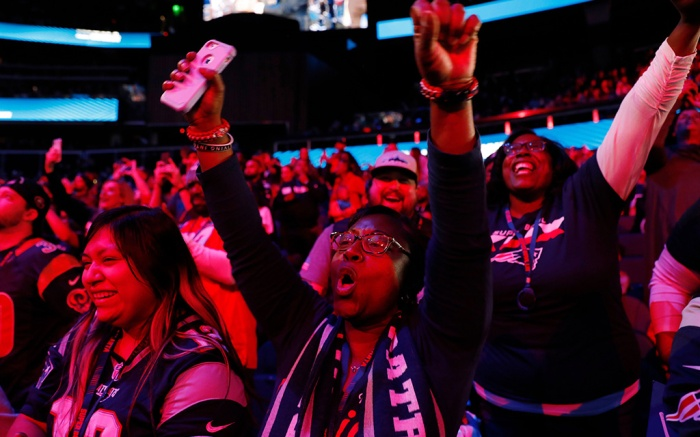 Fans cheer during Opening Night for the NFL Super Bowl 53 football game, in AtlantaPatriots Rams Super Bowl Football, Atlanta, USA - 28 Jan 2019