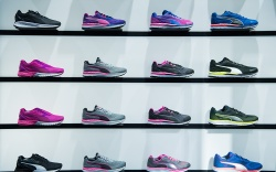 Puma sneakers are on display at