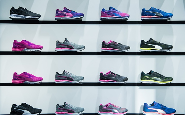 Puma sneakers are on display at a store in Herzogenaurach, Germany, 09 February 2017. The sporting goods manufacturer increased its sales in 2016 by 7 percent to 3.627 million euros. The operating result (EBIT) is up by 33 percent to 128 million euros and the gross profit margin is at 45.7 percent according to the management.Puma annual earnings press conference, Herzogenaurach, Germany - 09 Feb 2017