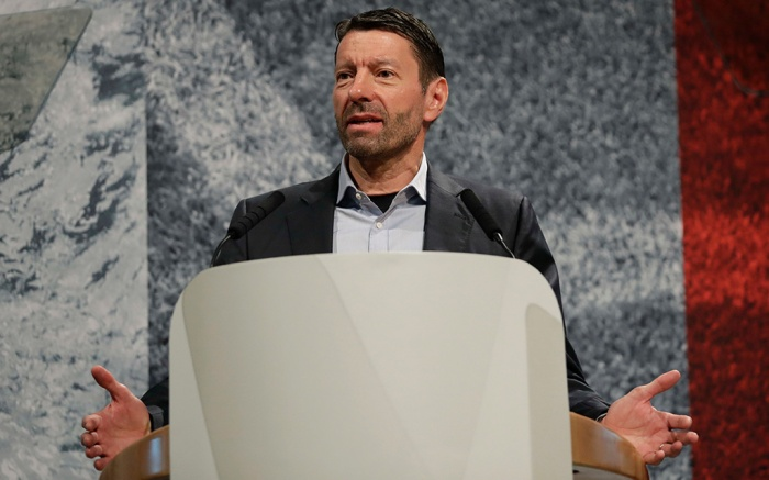 CEO of German sports equipment company adidas AG, Kasper Rorsted, gestures during his speech at the company's annual shareholders meeting in Fuerth, GermanyAdidas Earns, Fuerth, Germany - 11 May 2017