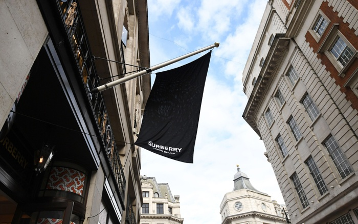A flags hangs from a Burberry store in Oxford street in London, Britain, 06 September 2018. The company has announced that will stop burning unsold items after receiving criticisms from environmental organizations across the planet.Burberry to stop burning unsold items, London, United Kingdom - 06 Sep 2018