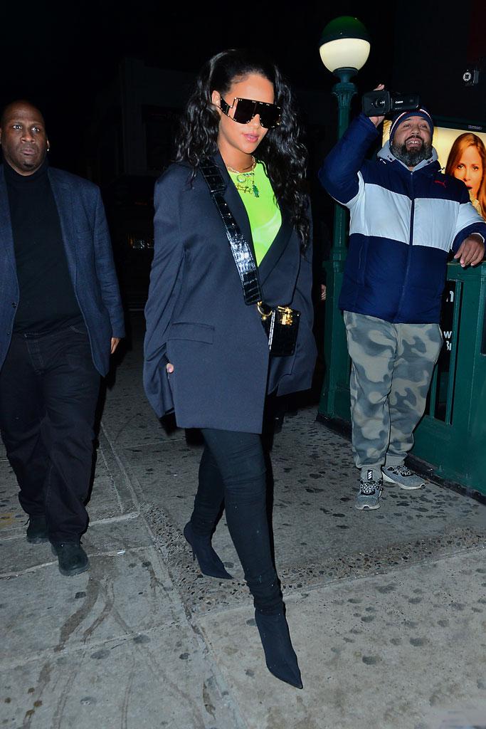 rihanna, new york, street style, neon green, fashion, celebrity style