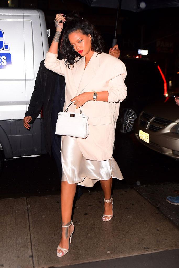 Rihanna, slipdress, blazer, fendi, manolo blahnik, sandals, new york city, celebrity style, street style 2019