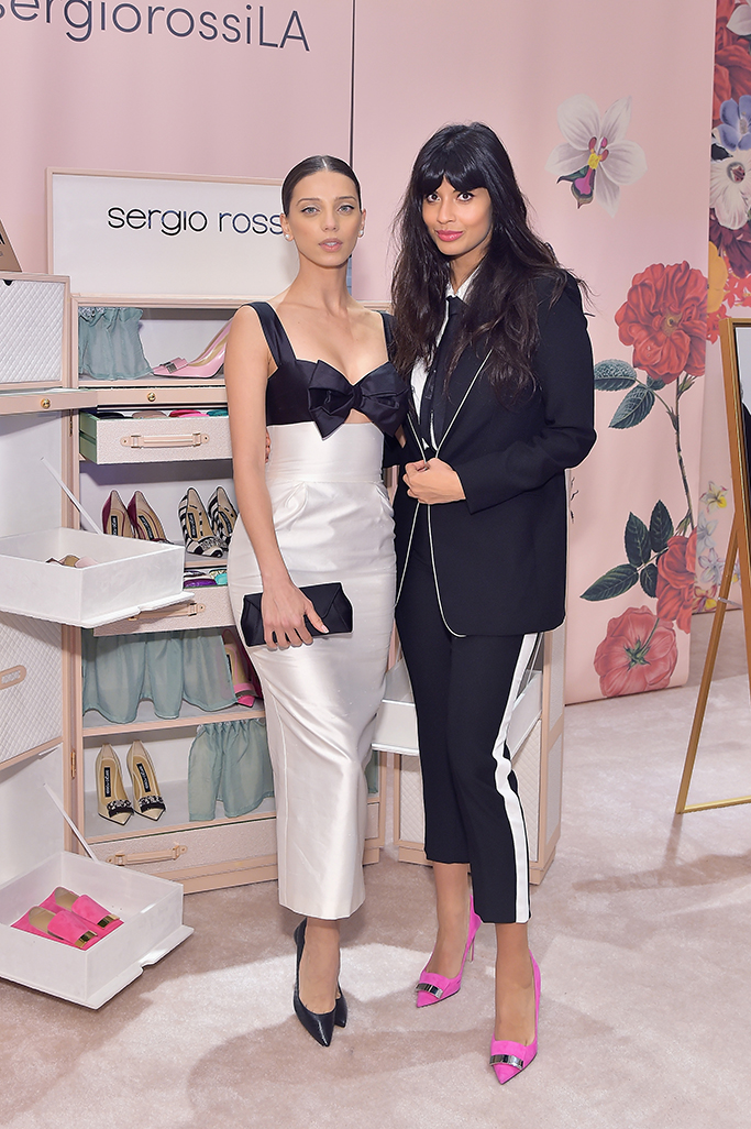 BEVERLY HILLS, CA - JANUARY 17: Jameela Jamil (R) and Angela Sarafyan attend Sergio Rossi & Elizabeth Stewart Celebrate Capsule Collection at Pop-Up at Westfield Century City on January 17, 2019 in Beverly Hills, California. (Photo by Stefanie Keenan/Getty Images for Sergio Rossi )