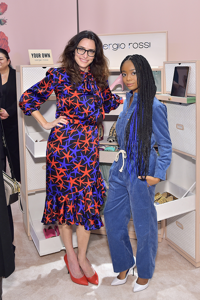 BEVERLY HILLS, CA - JANUARY 17: Elizabeth Stewart (L) and Skai Jackson attend Sergio Rossi & Elizabeth Stewart Celebrate Capsule Collection at Pop-Up at Westfield Century City on January 17, 2019 in Beverly Hills, California. (Photo by Stefanie Keenan/Getty Images for Sergio Rossi )