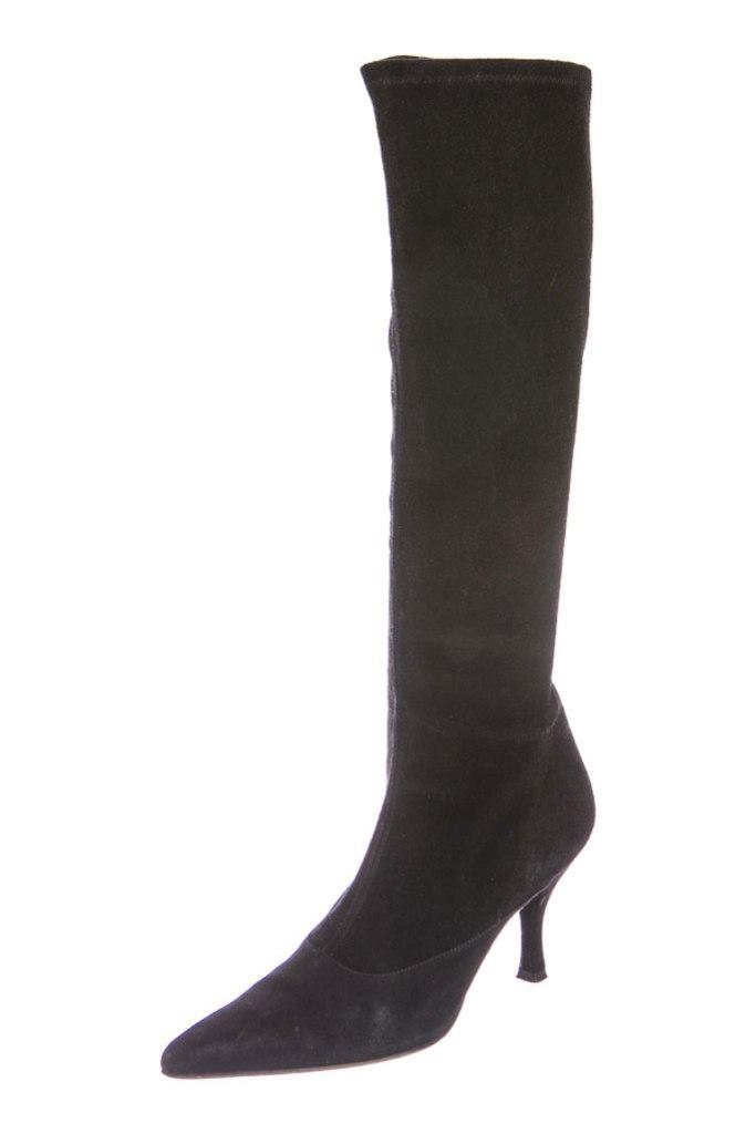 Black suede knee-high Stuart Weitzman boots